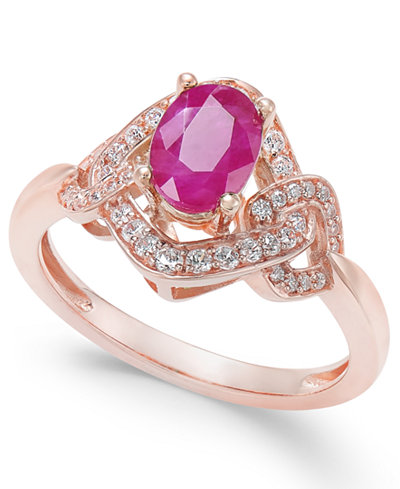 Certified Ruby (9/10 ct. t.w.) & Diamond (1/4 ct. t.w.) Ring in 14k Rose Gold
