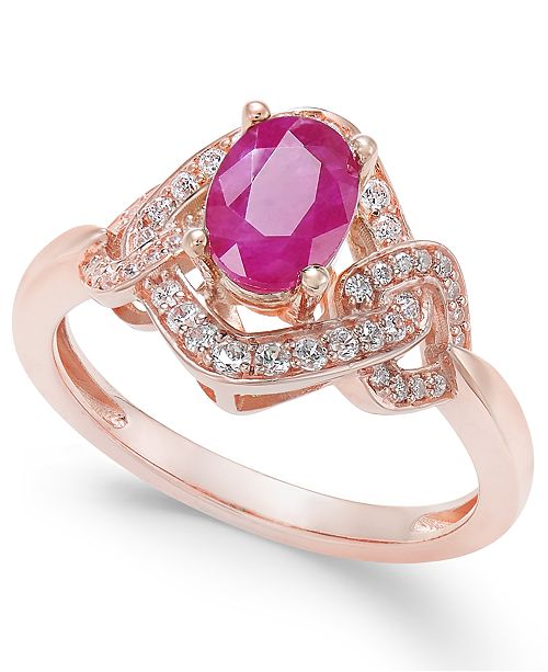 Macy's Certified Ruby (9/10 ct. t.w.) & Diamond (1/4 ct. t.w.) Ring in 14k Gold (Also Available in Sapphire and Emerald)