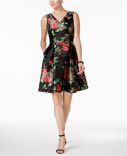 Fit Pink Floral Flare Embroidered Green Black Ivanka Trump Dress amp; qf4wZ8nt