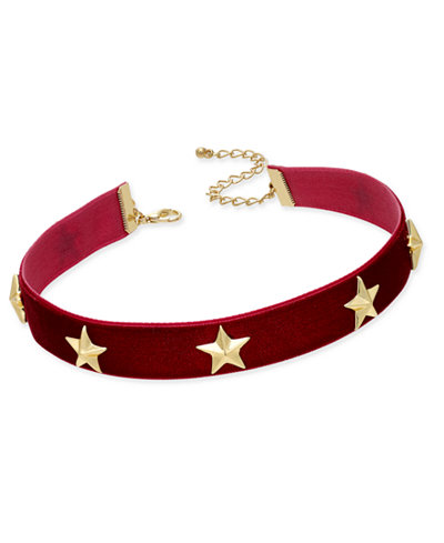 M. Haskell for INC International Concepts Gold-Tone Velvet Stars Choker Necklace, Created for Macy's