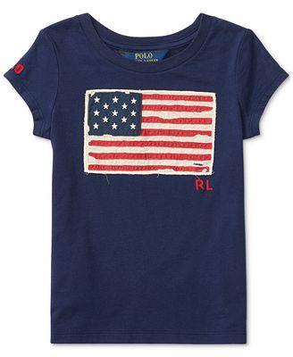 Ralph Lauren American Flag Cotton Jersey T-Shirt, Big Girls