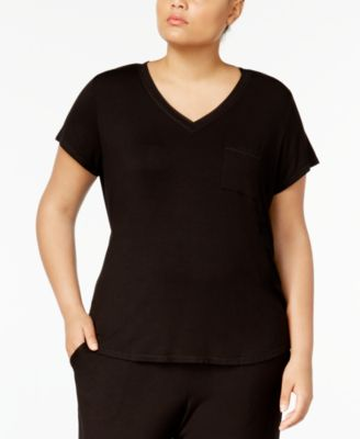 Plus Size Chiffon-Trimmed Pajama T-Shirt, Created for Macy's