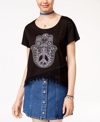 1545f6e61d6 Hybrid Juniors  Hamsa Graphic T-Shirt - Juniors Tops - Macy s
