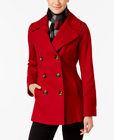 London Fog Double-Breasted Peacoat with Scarf - Women - Macy's
