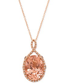 Chocolatier® Peach Morganite™ (6-9/10 ct. t.w.) & Diamond (1/4 ct. t.w.) Pendant Necklace in 14k Rose Gold