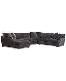 CLOSEOUT! Teddy Fabric 4-Piece Chaise Sectional Sofa, Created for Macy's