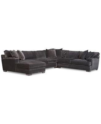 CLOSEOUT Teddy Fabric 4 Piece Chaise Sectional Sofa Created for