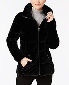 I.N.C. Velvet Puffer Coat, Created for Macy's