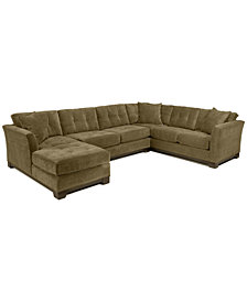 Elliot Fabric Microfiber 3-Piece Chaise Sectional Sofa, Created for Macy's