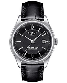 Tissot Men's Swiss Automatic Ballade Black Leather Strap Watch 39mm