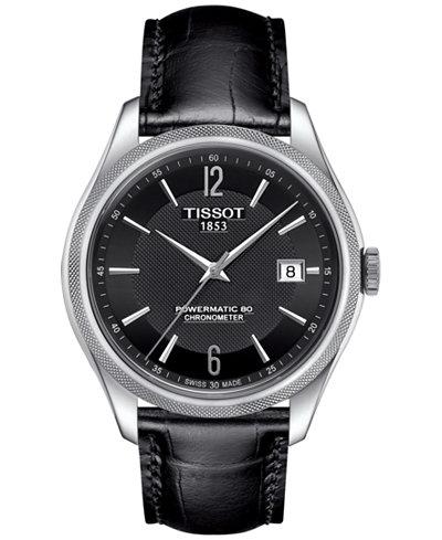 Tissot Men's Swiss Automatic Ballade Black Leather Strap Watch 39mm