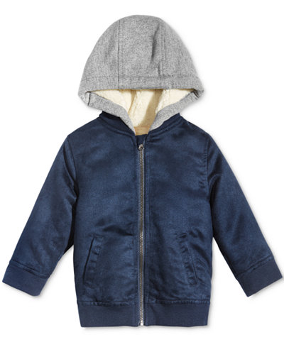 First Impressions Hooded Faux-Suede Bomber Jacket, Baby Boys (0-24 ...