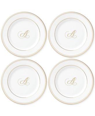 Federal Gold Monogram Tidbit Plates, Set Of 4, Script Letters