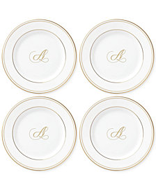 Lenox Federal Gold Monogram Tidbit Plates, Set Of 4, Script Letters