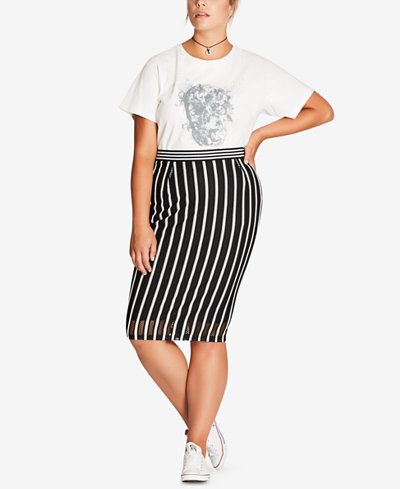 City Chic Trendy Plus Size Striped Mesh-Overlay Pencil Skirt