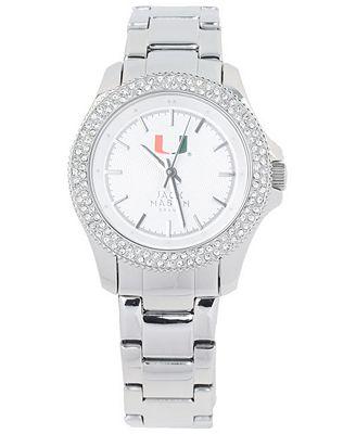 Jack Mason Women's Miami Hurricanes Glitz Sport Bracelet Watch