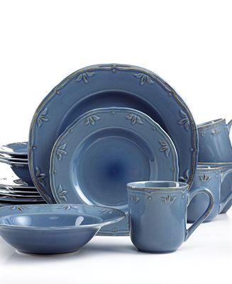 Thomson Pottery Sicily Blue 16 Pc Set Service For 4