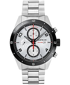 Men's Swiss Timewalker Chronograph Automatic Stainless Steel Bracelet Watch 43mm