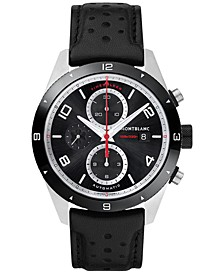 Men's Swiss Timewalker Chronograph Automatic Black Leather Strap Watch 43mm