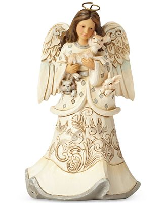 Jim Shore White Woodland Angel With Fawn Figurine