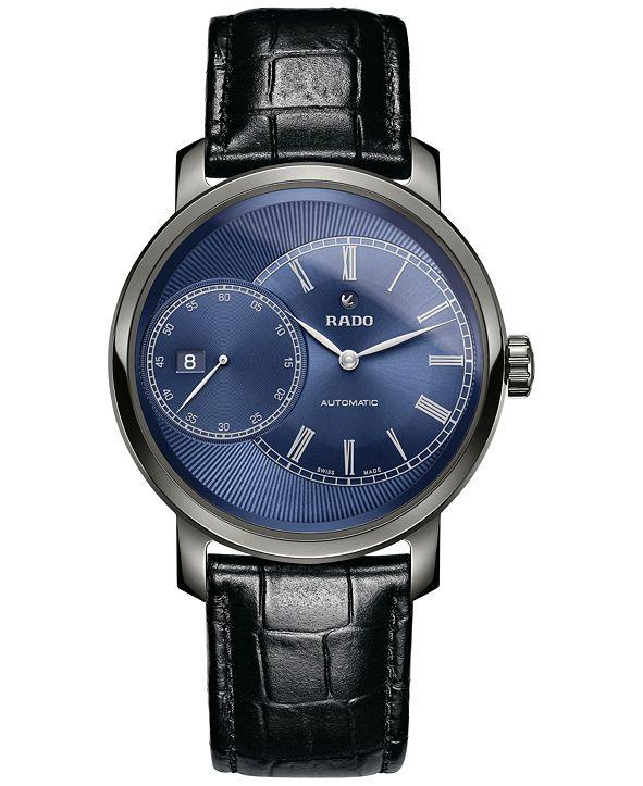 Rado Men's Swiss Automatic Diamaster Black Leather Strap Watch 43mm