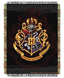 Warner Brothers Harry Potter Hogwarts Crest Triple Woven Tapestry Throw