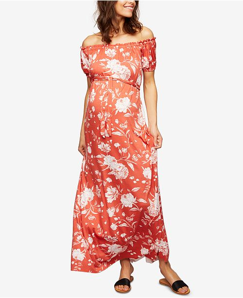 Rachel Pally Maternity Off-The-Shoulder Maxi Dress