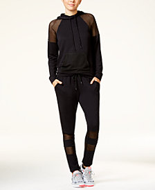 Material Girl Active Juniors' Mesh-Inset Hoodie & Jogger Pants, Created for Macy's