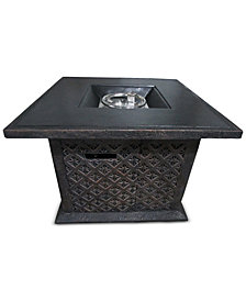 "Sandon 33.5"" Square Gas Fire Pit, Quick Ship"