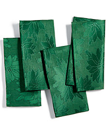 Bardwil Winter Joy Green Set of 4 Napkins