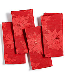 Bardwil Winter Joy Red Set of 4 Napkins