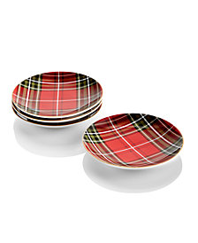 222 Fifth 4-Pc. Wexford Plaid Appetizer Plates Set