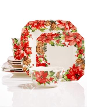 222 Fifth Winter Poinsettia 12Pc Dinnerware Set Created for Macys
