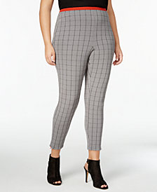 HUE® Women's Plus Size Windowpane Loafer Skimmer Leggings