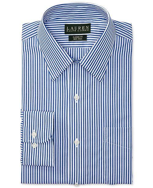 fa18d7c3b5b ... Lauren Ralph Lauren Non-Iron Blue Bengal Stripe Dress Shirt ...