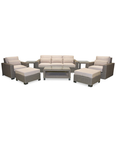 Del Mar 8-Pc. Set (1 Sofa, 1 Club Chair, 1 Swivel Club Chair, 2 Ottoman, 1 Coffee Table & 2 End Tables), Created for Macy's