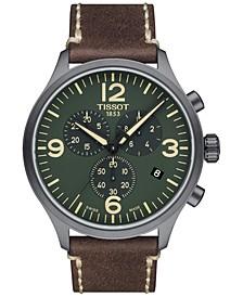 Men's Swiss Chrono XL Brown Leather Strap Watch 45mm