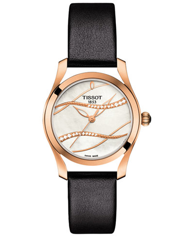 Tissot Women's Swiss T-Wave ll Diamond (1/2 ct. t.w.) Black Leather Strap Watch 30mm