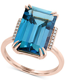 EFFY® London Blue Topaz (9-3/4 ct. t.w.) & Diamond Accent Ring in 14k Rose Gold