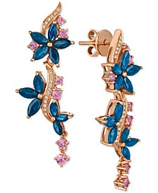 Multi-Sapphire (4 ct. t.w.) & Diamond (1/10 ct. t.w.) Drop Earrings in 14k Rose Gold