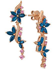 Le Vian® Multi-Sapphire (4 ct. t.w.) & Diamond (1/10 ct. t.w.) Drop Earrings in 14k Rose Gold