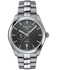 Tissot Men's Swiss PR100 Dual Time Stainless Steel Bracelet Watch 39mm