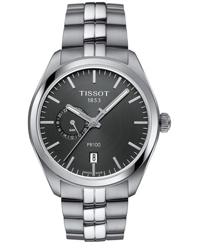 Tissot Men's Swiss PR100 Dual Time Stainless Steel Bracelet Watch 39mm