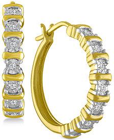 Diamond Hoop Earrings (1/10 ct. t.w.) in 14k Gold-Plated Sterling Silver