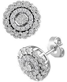 Diamond Halo Stud Earrings (1/5 ct. t.w.) in Sterling Silver