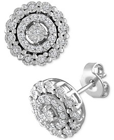 Diamond Halo Stud Earrings (1/5 ct. t.w.) in Sterling Silver