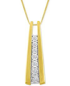 Diamond Accent Ladder Pendant Necklace in 10k Gold or White Gold