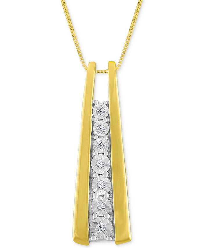 Macy's - Diamond Accent Ladder Pendant Necklace in 10k Gold or White Gold