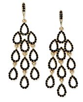 INC International Concepts Gold-Tone Jet Pavé Waterfall Chandelier Earrings, Created for Macy's