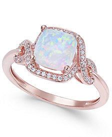 Opal (1 ct. t.w.) & Diamond (1/8 ct. t.w.) Ring in 14k Rose Gold